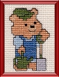 gardening teddy bear mini cross stitch kit