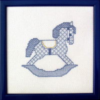blackwork rocking horse