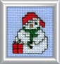 snowman with gift mini cross stitch kit