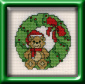 teddy bear in wreath mini cross stitch kit
